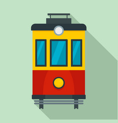 Front view tram icon flat style vector
