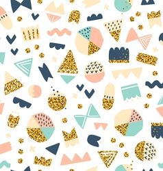 Fun shapes pattern with gold on white vector