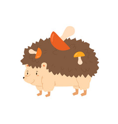 Funny hedgehog carrying colorful mushrooms vector