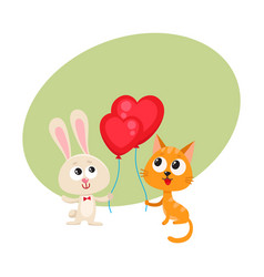 funny rabbit bunny and cat holding red heart vector image