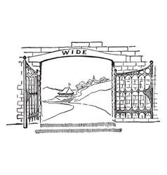 Gate passage vintage engraving vector