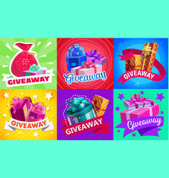 giveaway gift boxes promotion prizes set vector image