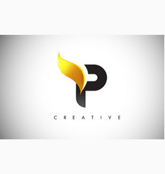 gold p letter wings logo design with golden bird vector image