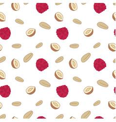 Granola muesli raspberries nuts proper nutrition vector