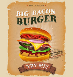 Grunge and vintage big bacon burger poster vector