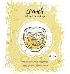 Hand drawn of drinks menu pages with cup of punch vector