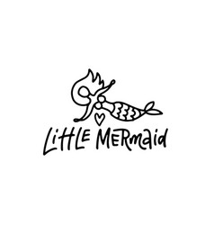 hand sketched little mermaid text lettering vector image