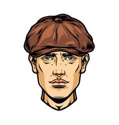 Handsome man face in irish cap vector