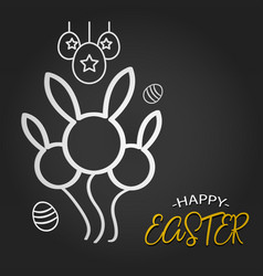 happy easter template with rabbit balloon shape vector image