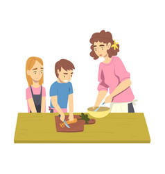 happy family cooking in kitchen mom spending vector image
