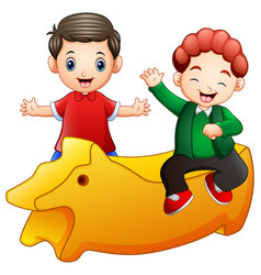 happy little two kids with a yellow toy isolated o vector image