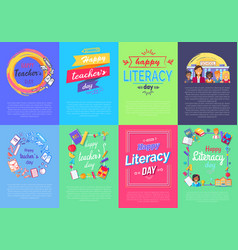 Happy teacher s literacy day set of posters vector