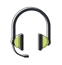 Headphones with microphone equipment accessory vector
