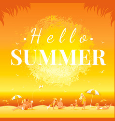 Hello summer banner sunset landscape sea beach vector