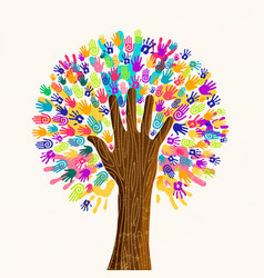 Human hand tree for culture diversity concept vector