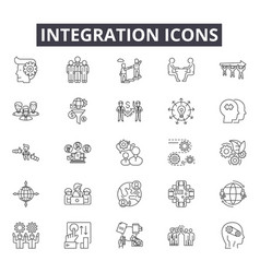 Integration line icons for web and mobile design vector