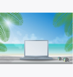 laptop on wooden desk at the beach vector image