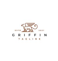 line art griffin logo design template vector image