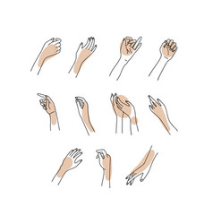 Linear woman s hand collection sketch vector
