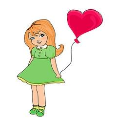 little girl with balloon vector image