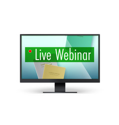 live webinar concept top down view to books vector image