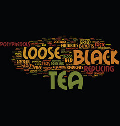 Loose black tea benefits text background word vector
