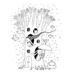Magic tree rabbits and birdsanimals vector
