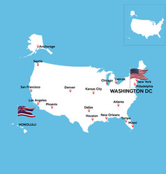 Map usa with separable borders in art vector