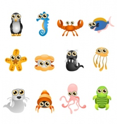 marine life animals set vector image