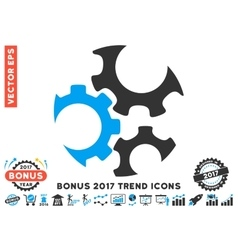 Mechanics Gears Flat Icon With 2017 Bonus Trend vector