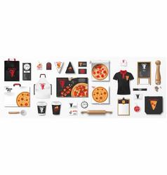 mockup set for pizzeria cafe or restaurant vector image