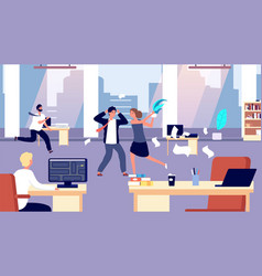 Office brawl chaos in workplace negative vector