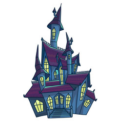 old scary house with cone roofs isolated vector image