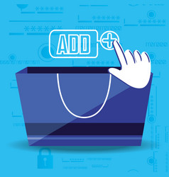 on line shopping with bag add vector image