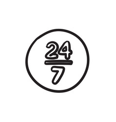 Open 24 hours and 7 days in wheek sketch icon vector