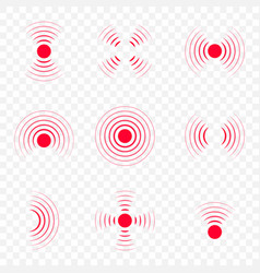 Pain icon with point red waves hurt body vector
