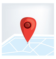 red gps marker on the map vector image