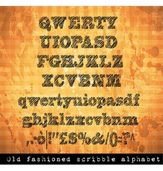 Scribble alphabet with pen sketch effect vector image