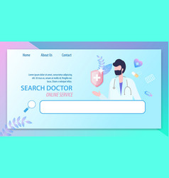 search doctor online service man with stethoscope vector image