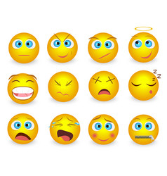 set emoji face emotion icons isolated vector image