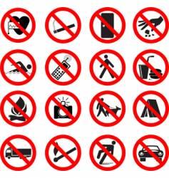 Set forbidden signs vector