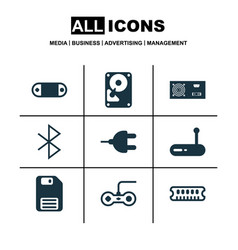 set of 9 computer hardware icons includes router vector image