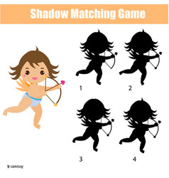 shadow matching game kids activity with cute vector image