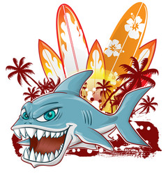 shark character cartoon over surfboard vector image