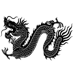 Silhouette chinese dragon crawling vector