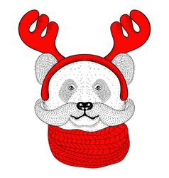 Sketch panda face with mustache in a reindeer vector image
