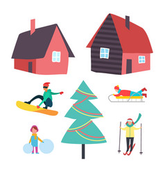 Skiing and winter seasonal hobbies set vector