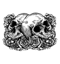 Skulls wrapped in roses flowers and leaves vector