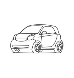 Small hatchback compact car line icon vector