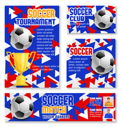 Soccer match banner with football trophy and ball vector